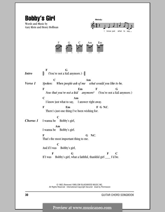 Bobby's Girl (Marcie Blane): Текст, аккорды by Gary Klein, Henry Hoffman