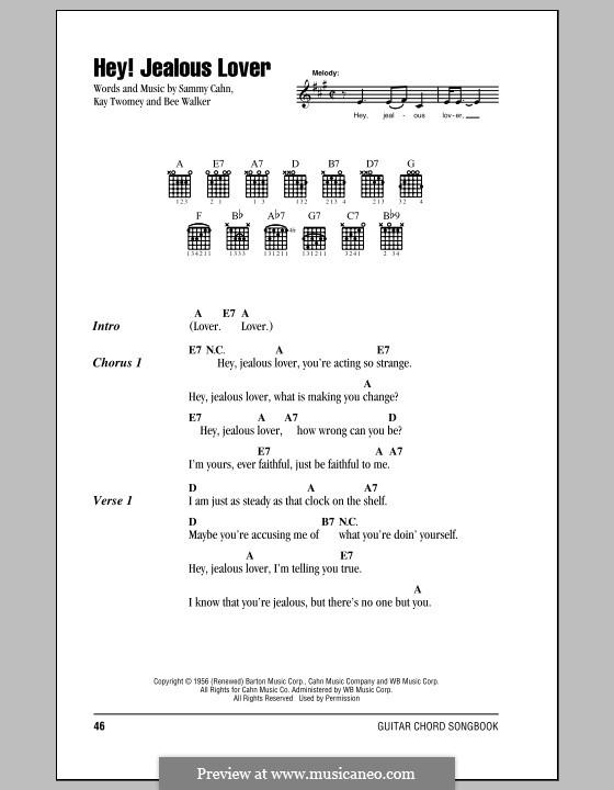 Hey! Jealous Lover: Текст, аккорды (Frank Sinatra) by Bee Walker, Kay Twomey, Sammy Cahn