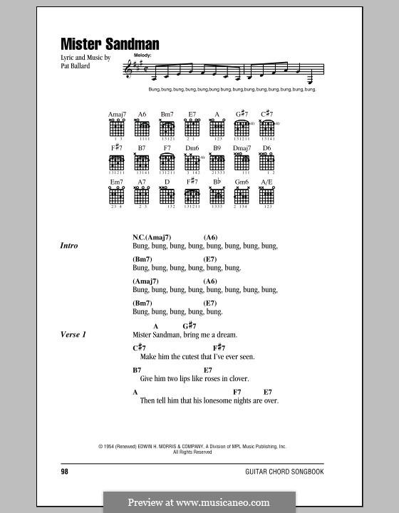 Mister Sandman (The Chordettes): Текст, аккорды by Pat Ballard