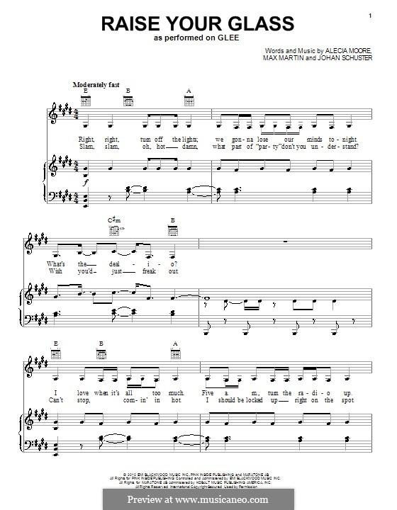 Raise Your Glass (Pink): Для голоса и фортепиано (или гитары) by Shellback, Alecia Moore, Max Martin
