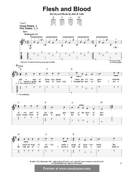 Flesh and Blood: Для гитары (очень легкая версия) by Johnny Cash