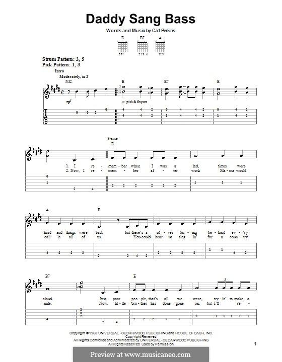 Daddy Sang Bass (Johnny Cash): Для гитары (легкий уровень) by Carl Lee Perkins