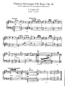 Девятнадцать норвежских народных мелодий, Op.66: Для фортепиано by Эдвард Григ