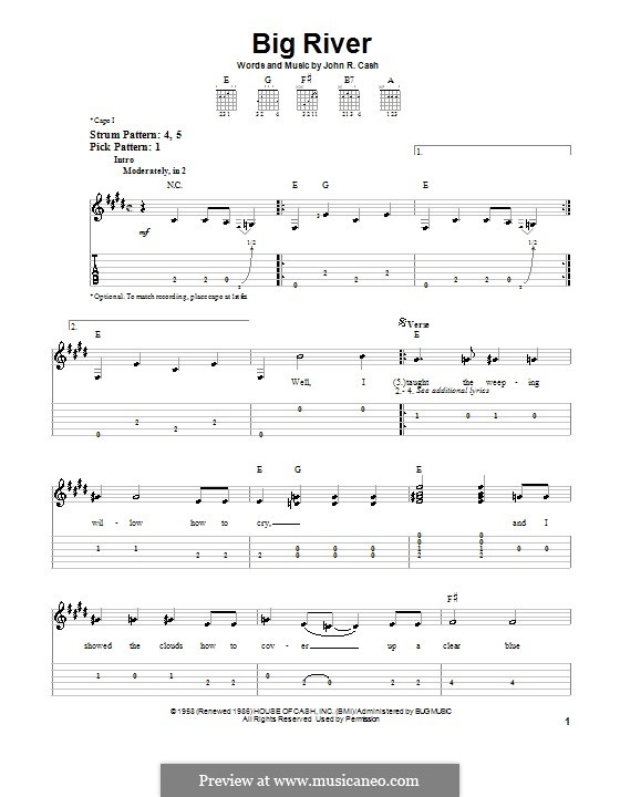 Big River: Для гитары (легкий уровень) by Johnny Cash