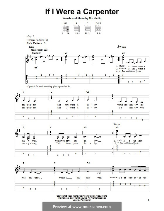 If I Were a Carpenter: Для гитары (очень легкая версия) by Tim Hardin