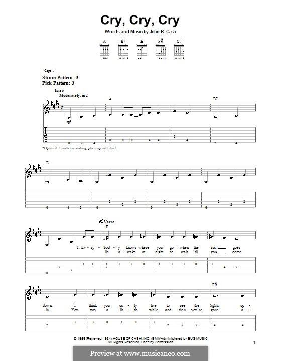 Cry, Cry, Cry: Для гитары (легкий уровень) by Johnny Cash