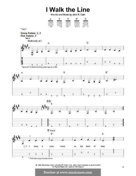 I Walk the Line: Для гитары (легкий уровень) by Johnny Cash