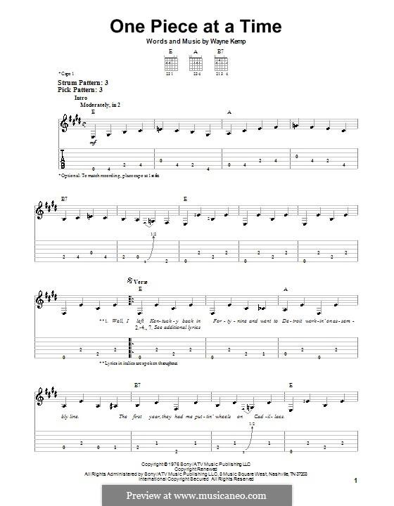 One Piece at a Time: Для гитары (легкий уровень) (Johnny Cash) by Wayne Kemp