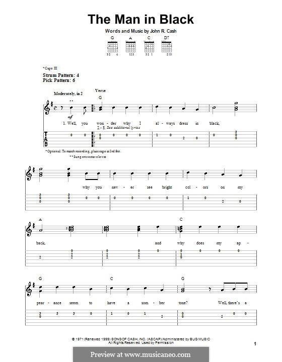 The Man in Black: Для гитары (очень легкая версия) by Johnny Cash