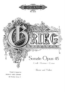 Соната для скрипки и фортепиано No.3 до минор, Op.45: Партитура by Эдвард Григ