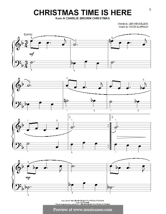 Christmas Time is Here (from A Charlie Brown Christmas), for Piano: Фа мажор by Vince Guaraldi