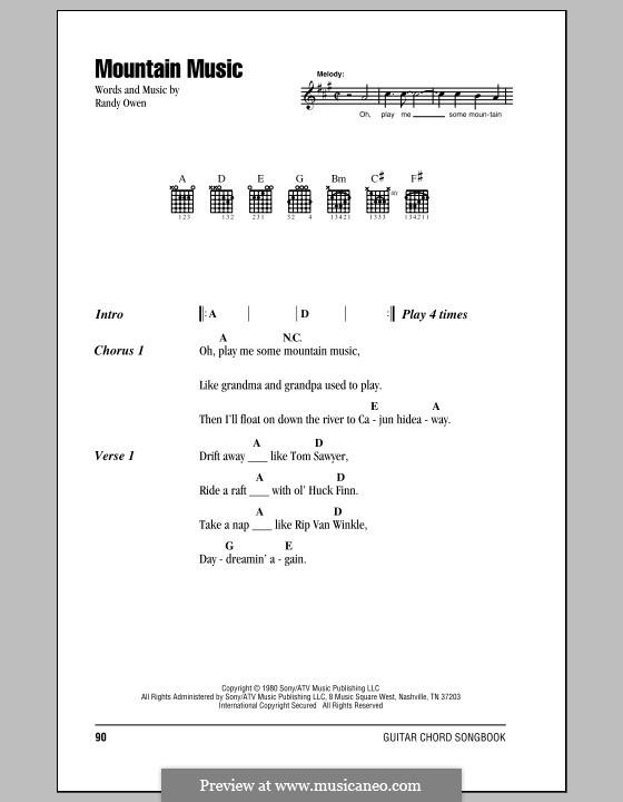 Mountain Music (Alabama): Текст и аккорды by Randy Owen