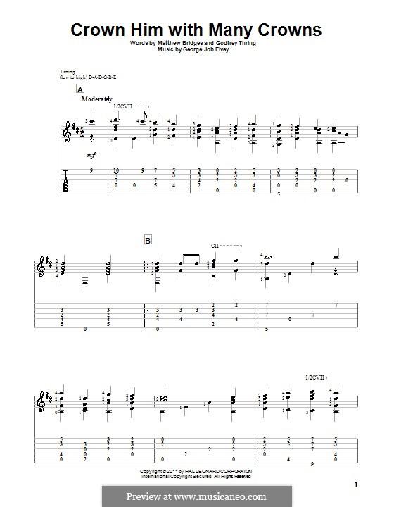 Crown Him with Many Crowns: Гитарная табулатура by George Job Elvey
