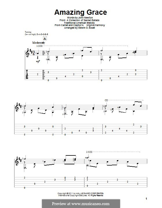 Amazing Grace (Printable Scores): Для гитары by folklore
