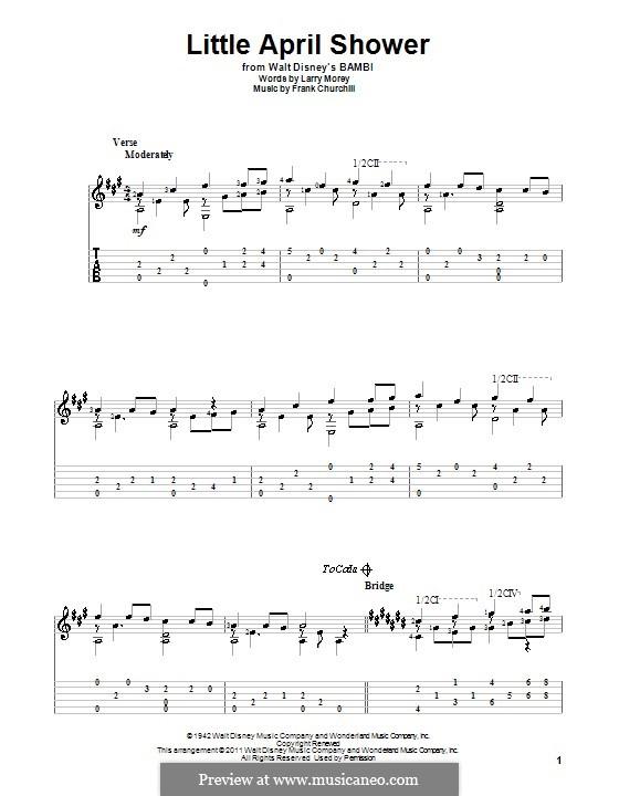 Little April Shower (from Bambi): Гитарная табулатура by Frank Churchill