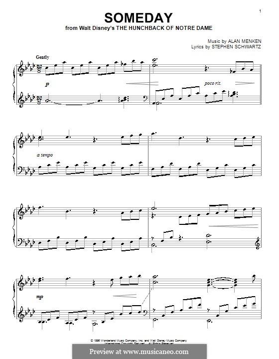 Someday (from Walt Disney's The Hunchback of Notre Dame): Для фортепиано by Alan Menken