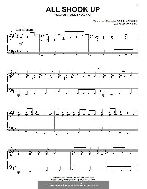 All Shook Up: Для фортепиано by Elvis Presley, Otis Blackwell