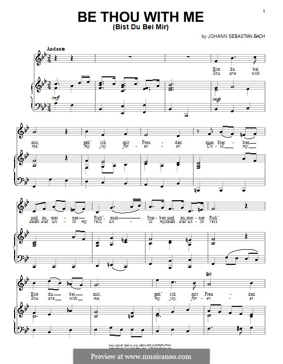 No.25 Bist du bei mir (You Are with Me), Printable scores: For voice and piano (or guitar) by Иоганн Себастьян Бах