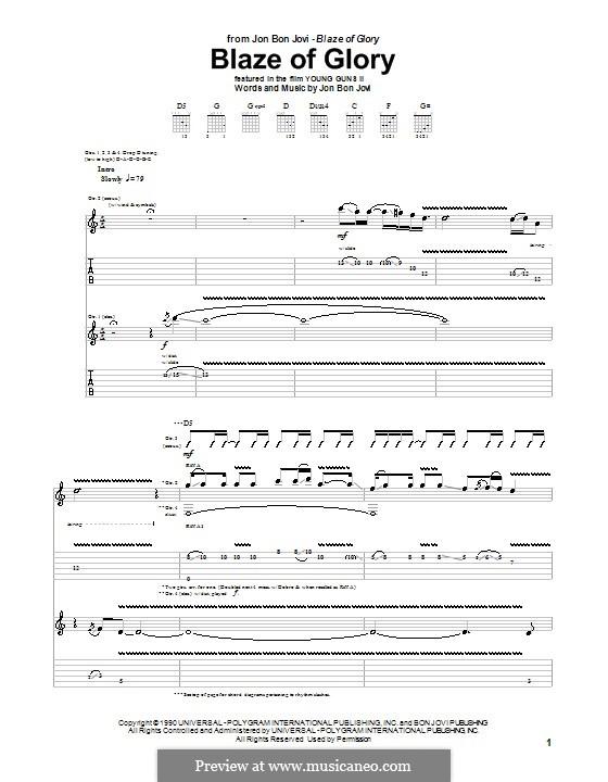 Blaze of Glory (Bon Jovi): Гитарная табулатура by Jon Bon Jovi