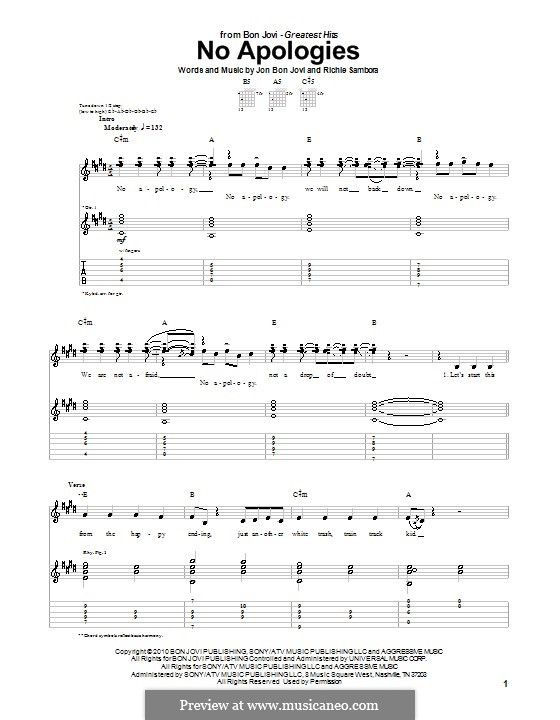 No Apologies (Bon Jovi): Гитарная табулатура by Jon Bon Jovi, Richie Sambora