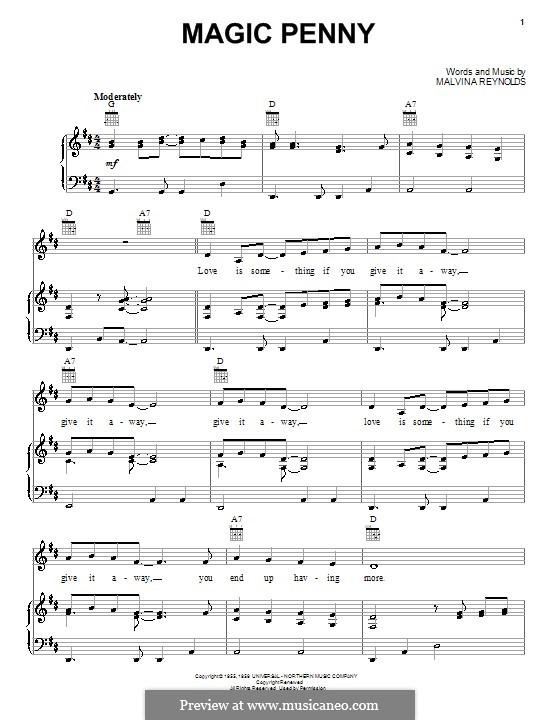 Magic Penny: Для голоса и фортепиано (или гитары) by Malvina Reynolds