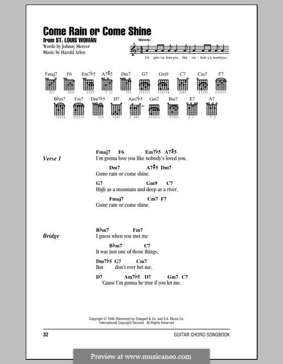 Come Rain or Come Shine: Текст, аккорды by Harold Arlen