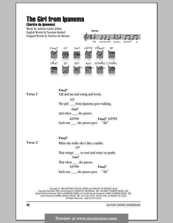 The Girl from Ipanema (Garota de Ipanema): Текст, аккорды by Antonio Carlos Jobim