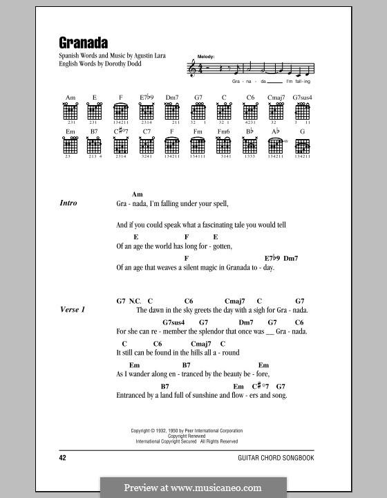 Granada: Текст, аккорды by Agustin Lara