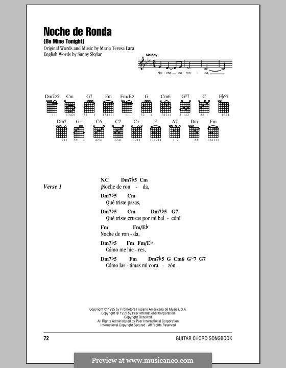 Noche de Ronda (Placido Domingo): Текст и аккорды by Maria Teresa Lara