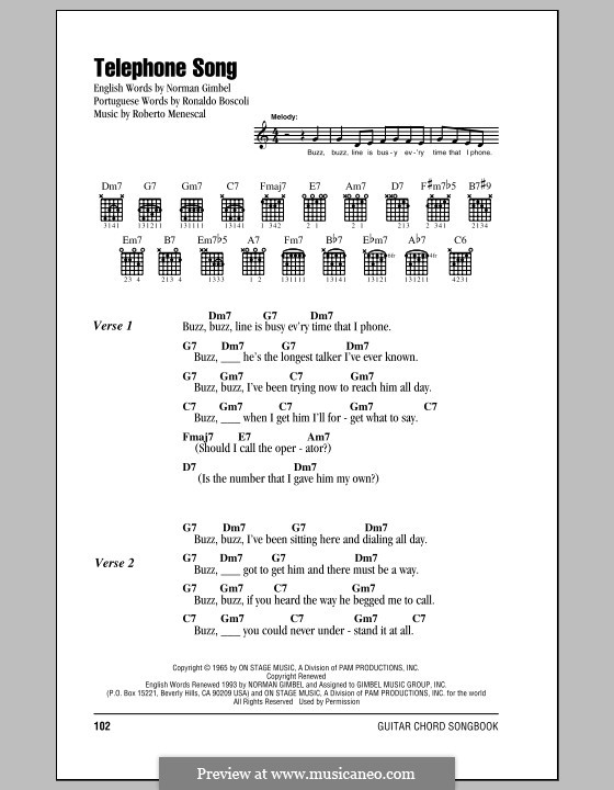 Telephone Song: Текст, аккорды by Roberto Menescal, Ronaldo Boscoli