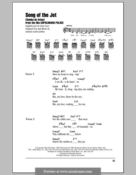 Song of the Jet (Samba do Aviao): Текст, аккорды by Antonio Carlos Jobim