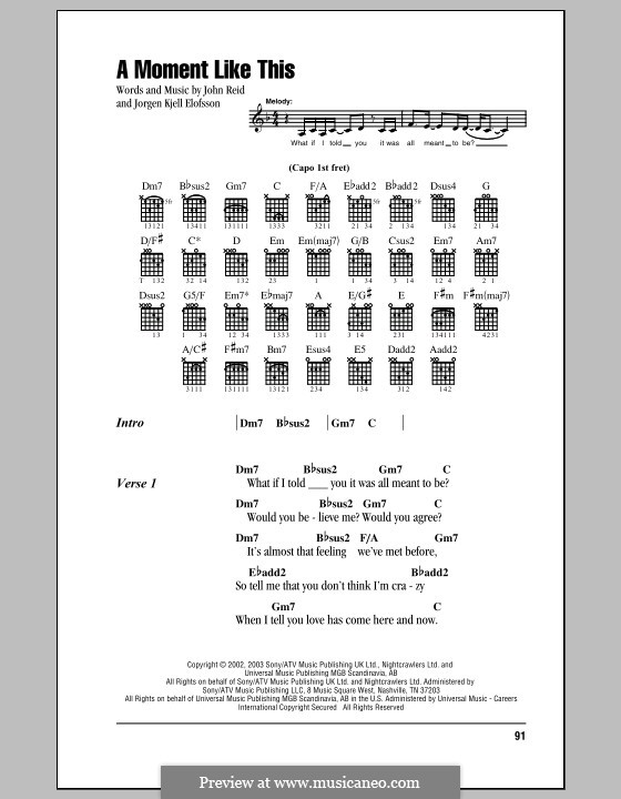 A Moment Like This: Текст, аккорды by John Reid, Jörgen Kjell Elofsson