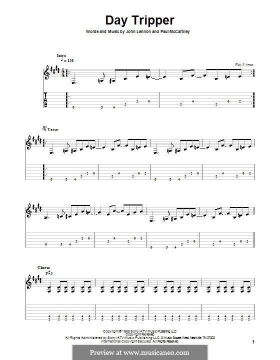 Day Tripper (The Beatles): Для гитары (очень легкая версия) by John Lennon, Paul McCartney