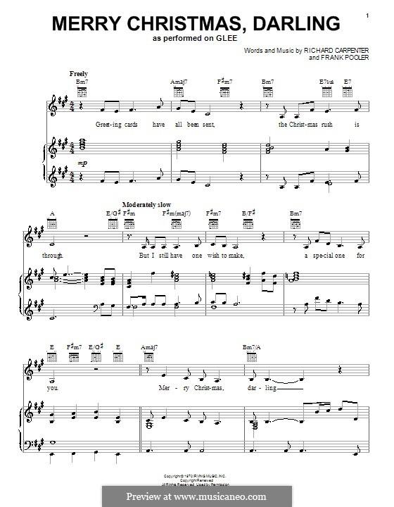 Merry Christmas, Darling (Carpenters): Для голоса и фортепиано или гитары (Glee Cast) by Frank Pooler, Richard Carpenter