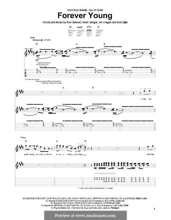 Forever Young II: Гитарная табулатура by Bob Dylan, Jim Cregan, Kevin Savigar, Rod Stewart