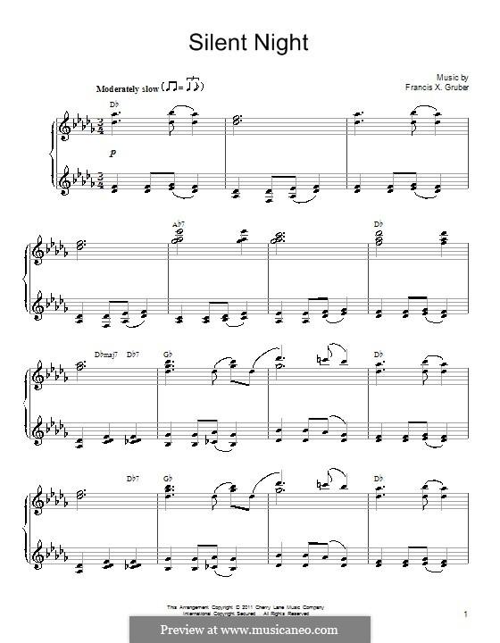 Тихая ночь, для фортепиано: In D Flat Major by Франц Ксавьер Грубер