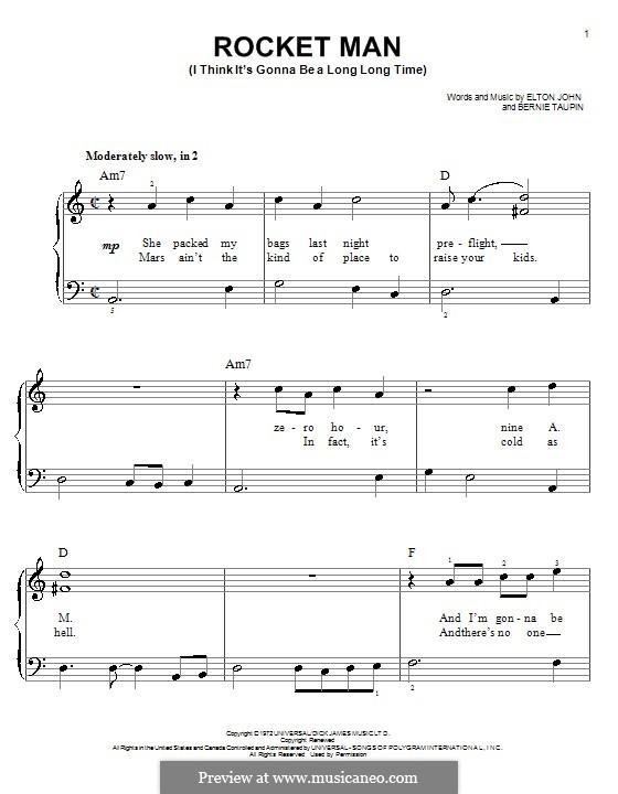 Rocket Man (I Think It's Gonna Be a Long Long Time): Для фортепиано (легкий уровень) (A Minor) by Elton John