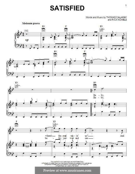 Satisfied (Cee Lo Green): Для голоса и фортепиано (или гитары) by Rick Nowels, Thomas Callaway