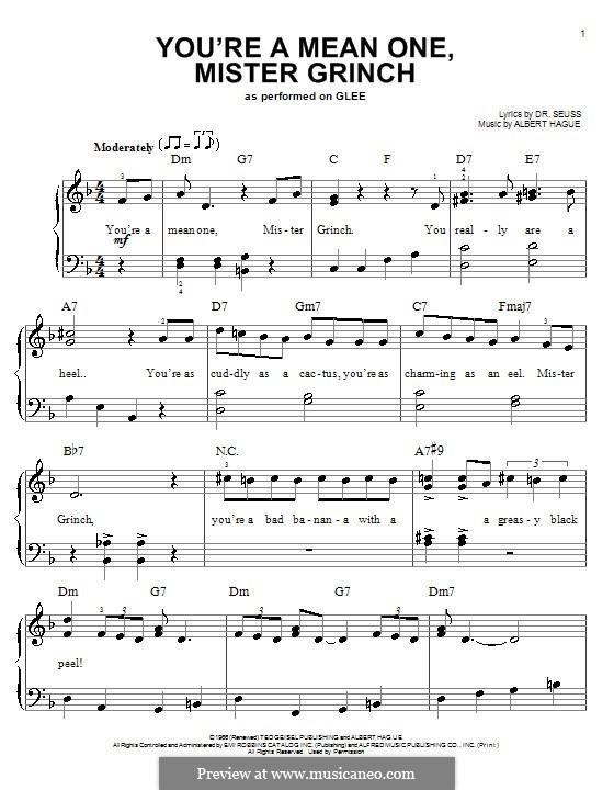 You're a Mean One, Mr. Grinch: Для начинающего пианиста by Albert Hague