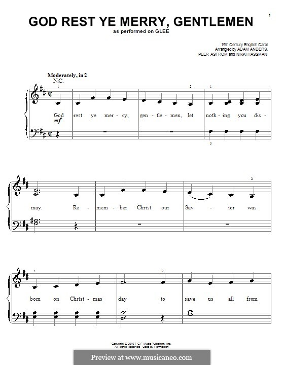 God Rest You Merry, Gentlemen, for Piano: Version for easy piano (Glee Cast) by folklore