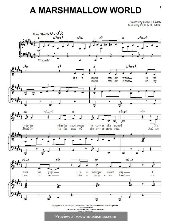 A Marshmallow World: Для голоса и фортепиано by Peter de Rose