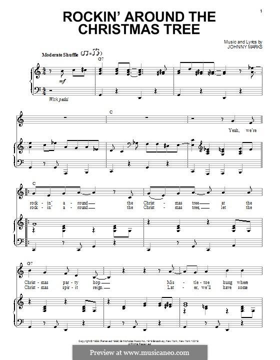 Rockin' Around the Christmas Tree: Для голоса и фортепиано by Johnny Marks