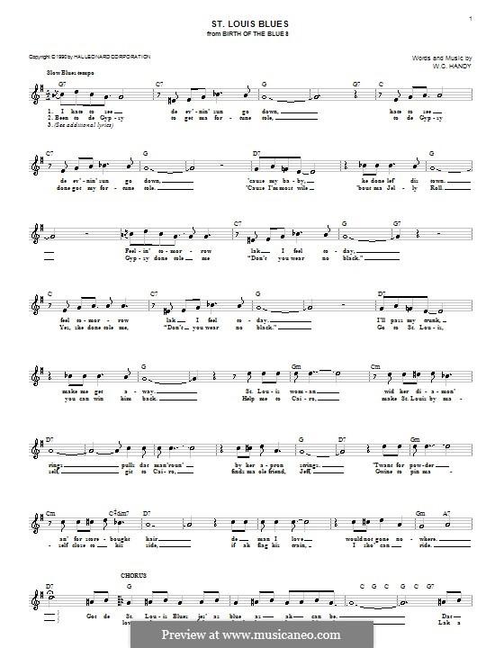 St. Louis Blues: Мелодия, текст и аккорды by Уильям Кристофер Хэнди