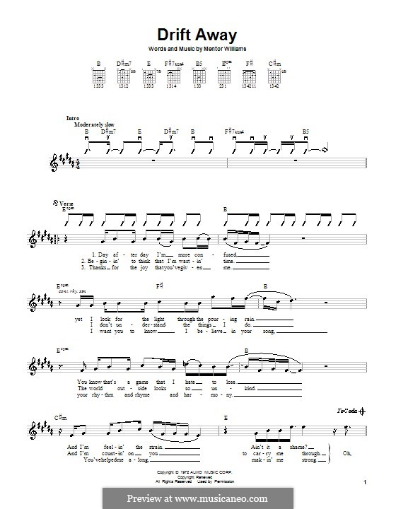 Drift Away (Dobie Gray): Для гитары by Mentor Williams