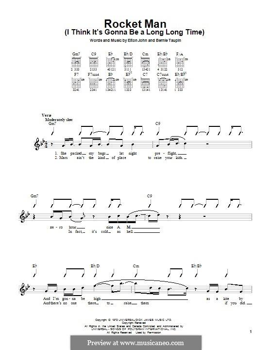 Rocket Man (I Think It's Gonna Be a Long Long Time): Для гитары by Elton John