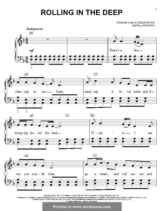 Rolling in the Deep: Для фортепиано (легкий уровень, с аккордами) by Adele, Paul Epworth
