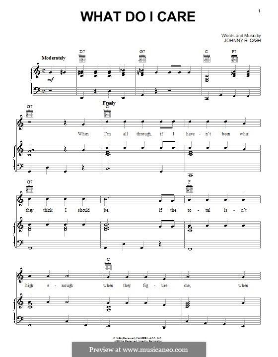 What Do I Care: Для голоса и фортепиано (или гитары) by Johnny Cash