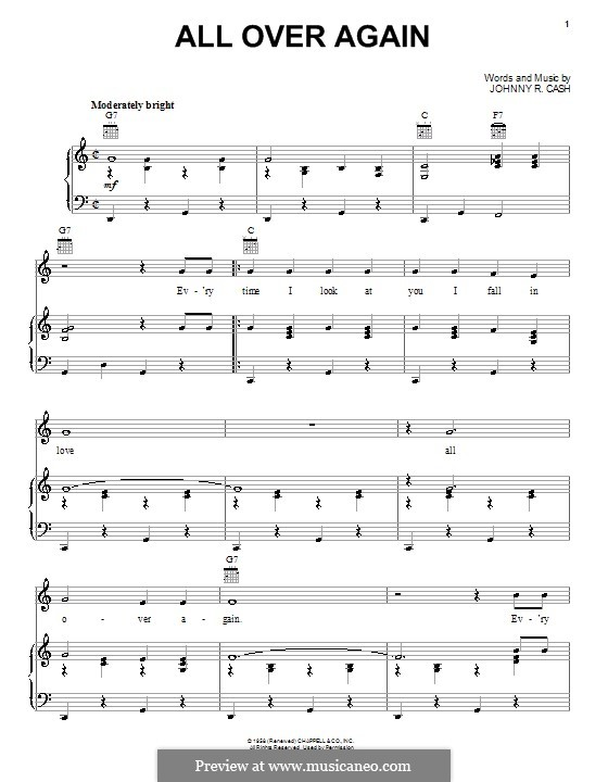 All Over Again: Для голоса и фортепиано (или гитары) by Johnny Cash