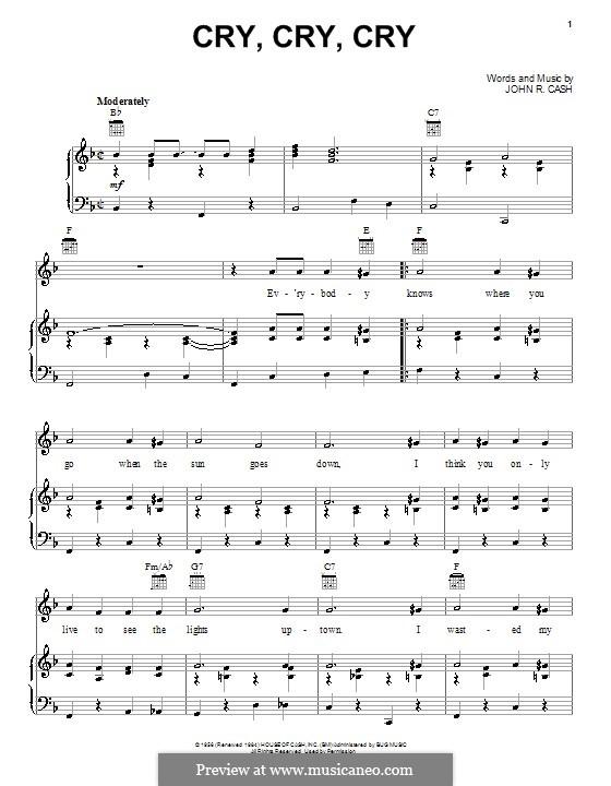 Cry, Cry, Cry: Для голоса и фортепиано (или гитары) by Johnny Cash
