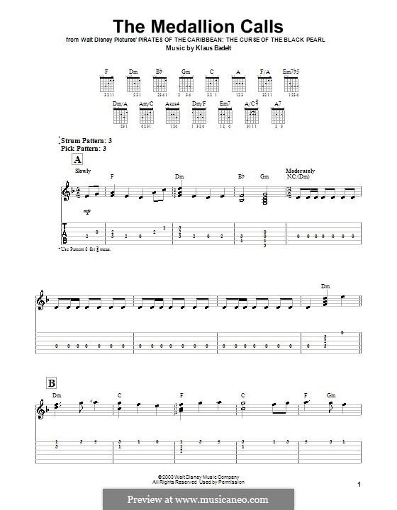 The Medallion Calls: Для гитары (очень легкая версия) by Klaus Badelt